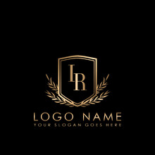 Elegant Initial Logo Letter IR, Initial Logo With Gold Shield Vector Template.