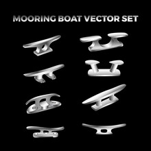 Silver Metalic Mooring Boat Cleat Vector Bundle Set