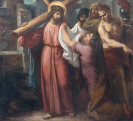 Fototapeta Dla Kościoła VIENNA, AUSTIRA - OCTOBER 22, 2020: The painting Veronica wipes the face of Jesus in church St. Johann der Evangelist by Karl Geiger (1876).
