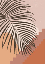 Palm Leaf In A Moroccan Desert With Mystical Stairs. Minimalist Wall Art. Boho Aesthetic Home Interior Decor. Burnt Orange, Terracotta Colors, Mustard Hues. Contemporary Art Esoteric Vector Print