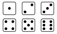 Set Of Dice Icon. Traditional Die With Six Faces Of Cube Marked With Different Numbers Of Dots Or Pips From 1 To 6.