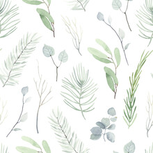 Watercolor Seamless Pattern With Winter Branches, Leaves Eucalyptus And Christmas Twigs. Tender Floral Green Illustration On White Background In Vintage Style.
