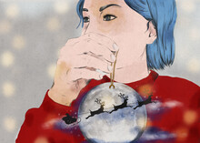 Santa Claus Brings Gifts. Woman With Christmas Ball Painted In Watercolor.