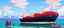 Cargo Ship In Sea Port Dock, I...