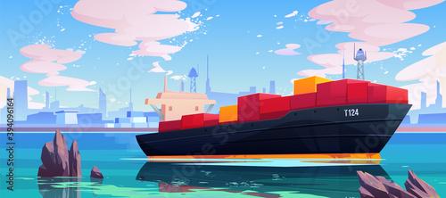 Tela Cargo ship in sea port dock, industrial vessel