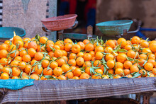 Traditional Moroccan Tangerines At A Street Market In Morocco