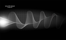 Grey Wave Sound Background With Dynamic Line