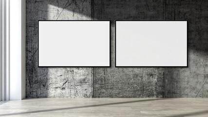 Panel Szklany Boks Large luxury modern minimal bright interiors room mockup illustration 3D rendering