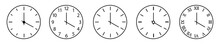 Clock And Time Outline Icon. Set Of Clock Icon Isolated. Horizontal Clocks Vector Symbol On White Background. Circle, Figures And Arrow Icon. Vector Illustration.