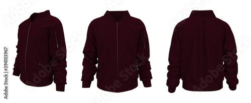 Fotomural Bomber jacket mockup, design presentation for print, 3d illustration, 3d renderi