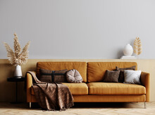 Mockup Modern Interior With Sofa In Stylish Living Room, Wood Wall And Pampas Grass, Empty Light Wall, 3D Render