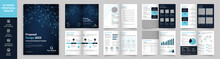 16 Page Multipurpose Brochure Template, Simple Style And Modern Layout, Elements Of Infographics For Business Proposal, Presentations, Annual Report, Company Profile, Corporate Report, Advertising