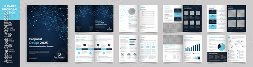 Fototapeta 16 page Multipurpose Brochure template, simple style and modern layout, Elements of infographics for Business Proposal, presentations, Annual report, Company Profile, Corporate report, advertising obraz