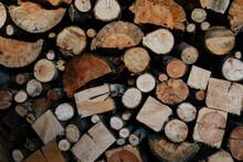Cut Wood Logs Pile Pattern