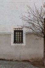 Iron Grates Out Of Window On Ancient Building Facade Close To Leafless Tree