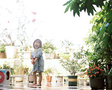 Lovely Asian Children, Playing Happily On The Rooftop. Shooting By 120 Film