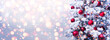 canvas print picture Abstract Holiday Background - Snowy Christmas Tree With Red Baubles With Shiny Defocused Lights