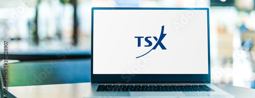 Laptop computer displaying logo of The TSX Venture Exchange