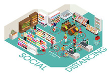 People Social Distancing In Grocery Store Illustration