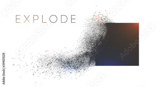 Fototapeta Square explosion with abstract burst. Vector particles of black shape broken debris. 3d square energy background. Futuristic cube geometric illustration. Vector explosion cloud with mist. obraz