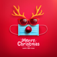 Merry Christmas & Happy New Year Promotion Poster Or Banner With Symbol Of Reindeer From Medical Mask,red Sunglasses,antler And Chritmas Ball For Retail,Shopping Or Christmas Promotion.