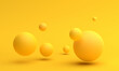Abstract 3d render of composition with yellow spheres, modern background design