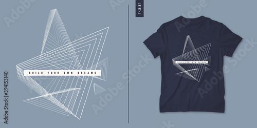 Geometric abstract t-shirt vector design, poster, print, template