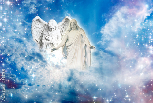 angel archangel and Jesus Christ with open arms over divine sky with Light like Fotobehang