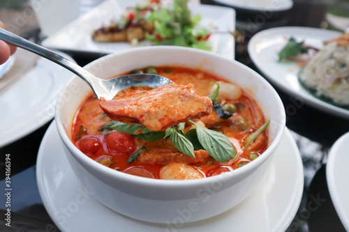 Fotografie, Obraz Roasted Duck Red curry or red curry with roasted duck, duck curry