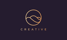 Elegant Gold Line Logo Design With Simple And Modern Shape Of Ocean Wave In A Circle