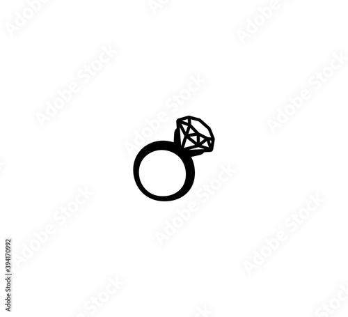 Fototapeta Diamond ring vector isolated icon illustration. Diamond ring icon obraz na płótnie