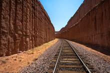 Rail Road Tracks Cut Through Solid Rock Near Moab Utah