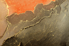 Art Abstract Painting Blots Horizontal Background. Alcohol Ink Black, Red And Gold Colors. Marble Texture.
