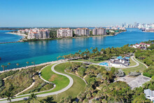 Aerial View Of South Pointe Park And Fisher Island, Florida Devoid Of People Under Coronavirus Pandemic Beach And Park Closure.
