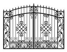 Silhouette Of A Wrought Iron Gate Vector