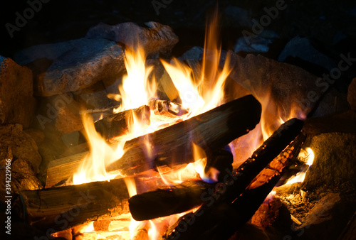 Papel de parede burning firewood and camp fire at night