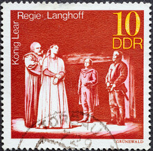 GERMANY, DDR - CIRCA 1973 : A Postage Stamp From Germany, GDR Showing A Theatrical Production Of King Lear's Tragedy By William Shakespeare. Director: Langhoff
