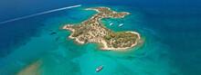 Aerial Drone Ultra Wide Photo From Paradise Bay And Small Island Of Chinitsa Near Famous Porto Heli, Argolida, Peloponnese, Greece