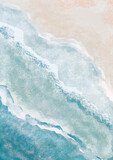 Boho Sea Beach with Waves Print. Abstract Background. Bohemian printable wall art, boho poster, pastel abstract art, landscape drawing, sea painting. Hand Drawn Effect - 394245905