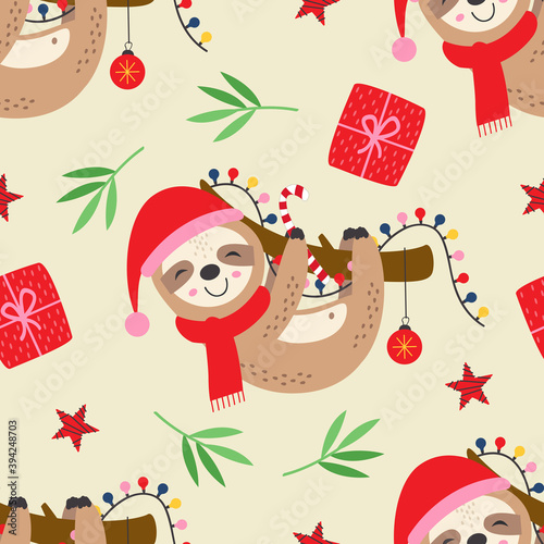 Fototapeta premium seamless pattern with Christmas sloth on a branch