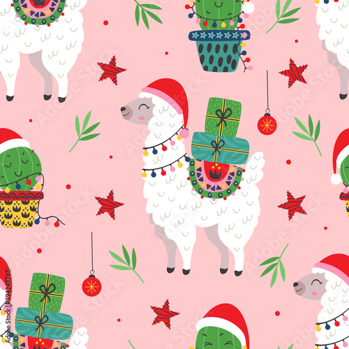 Fototapeta premium seamless pattern with Christmas Llama and cactus