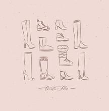 Poster Winter Women Shoes Vint...