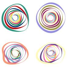 Spiral, Swirl, Twirl Element Set. Abstract Vector