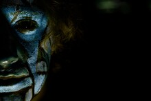 Close-up Portrait Of Man With Spooky Make-up