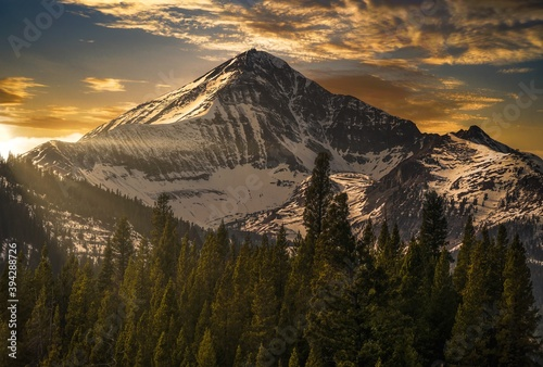 Canvas Print This image shows an epic winter mountainous landscape at Lone Peak in Big Sky, Montana