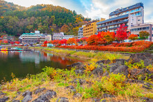 Japan. Autumn Panorama Of Kawaguchiko. Red Japanese Maples Near Houses On The Shore Of Lake Kawaguchiko. Life Near Mount Fuji. The Japanese Landscape. Guide To Japan.