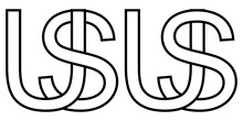 Logo Us And Su Icon Sign Two Interlaced Letters U S, Vector Logo Us Su First Capital Letters Among Pattern Alphabet U S