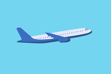 Passenger Plane In Flight On A Blue Background. Vector Illustration Of An Airplane.