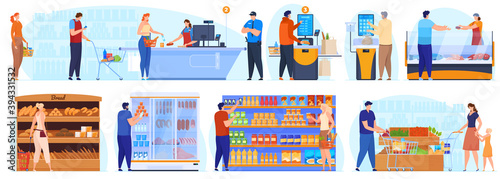Fototapeta Supermarket, shopping. People stand in line at the checkout. People at the shelves in the supermarket choose the product, self-cooling. Vector illustration obraz