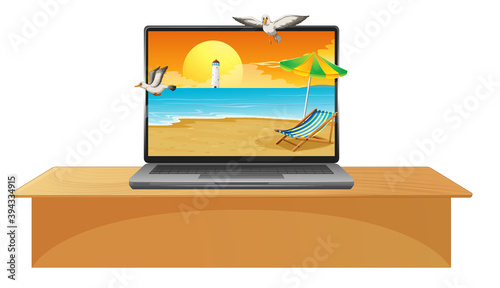 Laptop on the table with summer beach on screen Wallpaper Mural